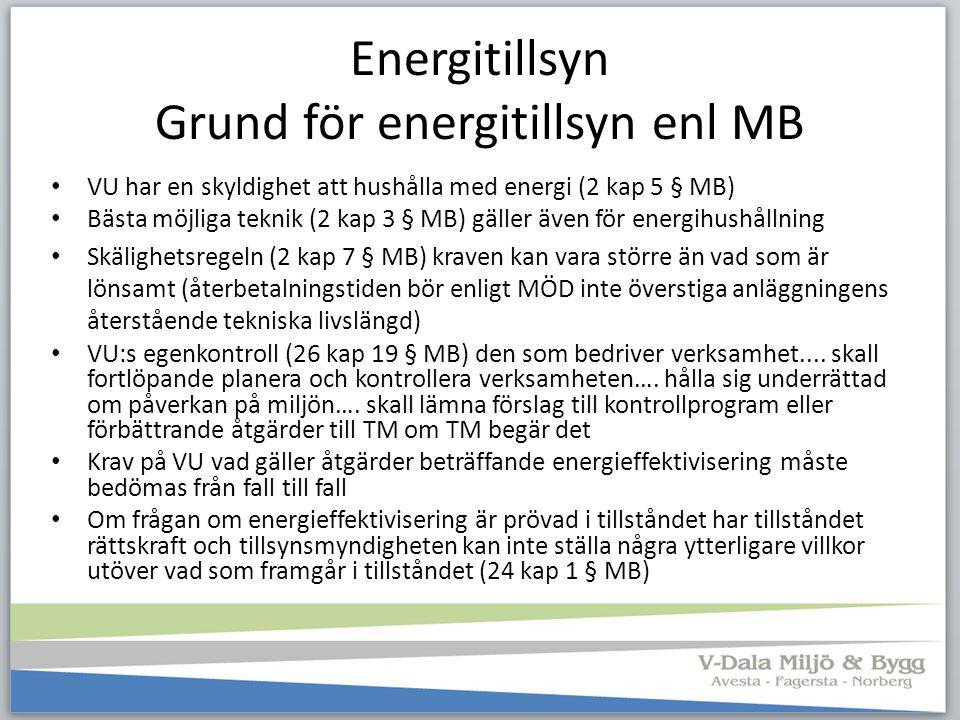 Energitillsyn Grund för energitillsyn enl MB