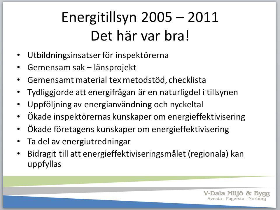 Energitillsyn 2005 – 2011 Det här var bra!