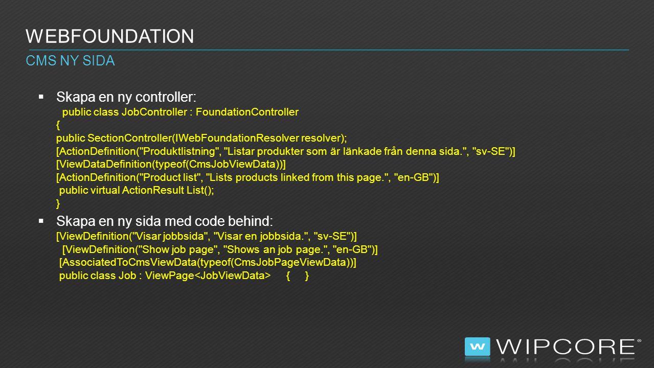 Webfoundation CMS ny sida