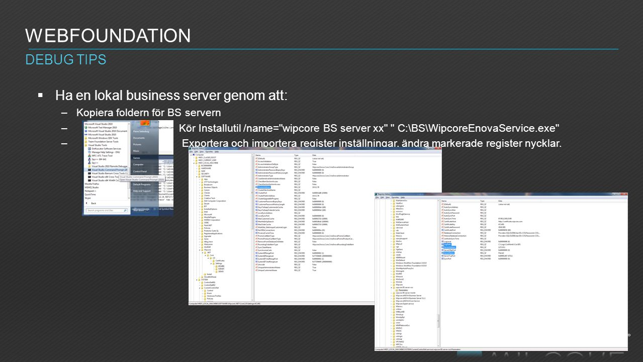 Webfoundation Debug tips Ha en lokal business server genom att: