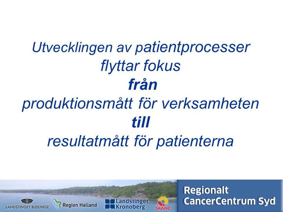 Utvecklingen av patientprocesser flyttar fokus från produktionsmått för verksamheten till resultatmått för patienterna