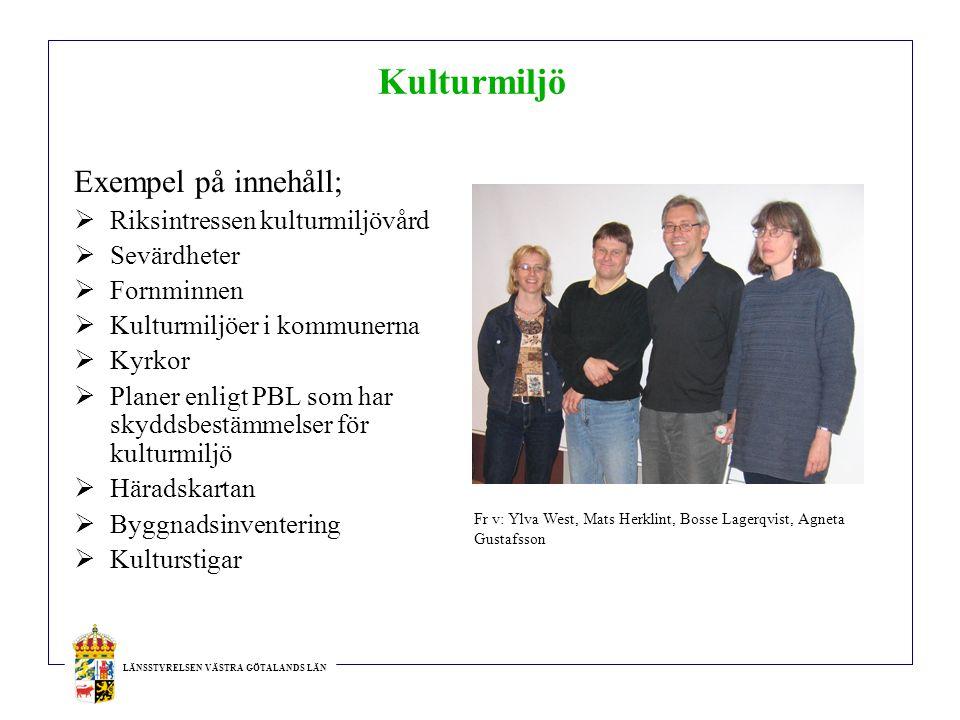 Kulturmiljö Exempel på innehåll; Riksintressen kulturmiljövård