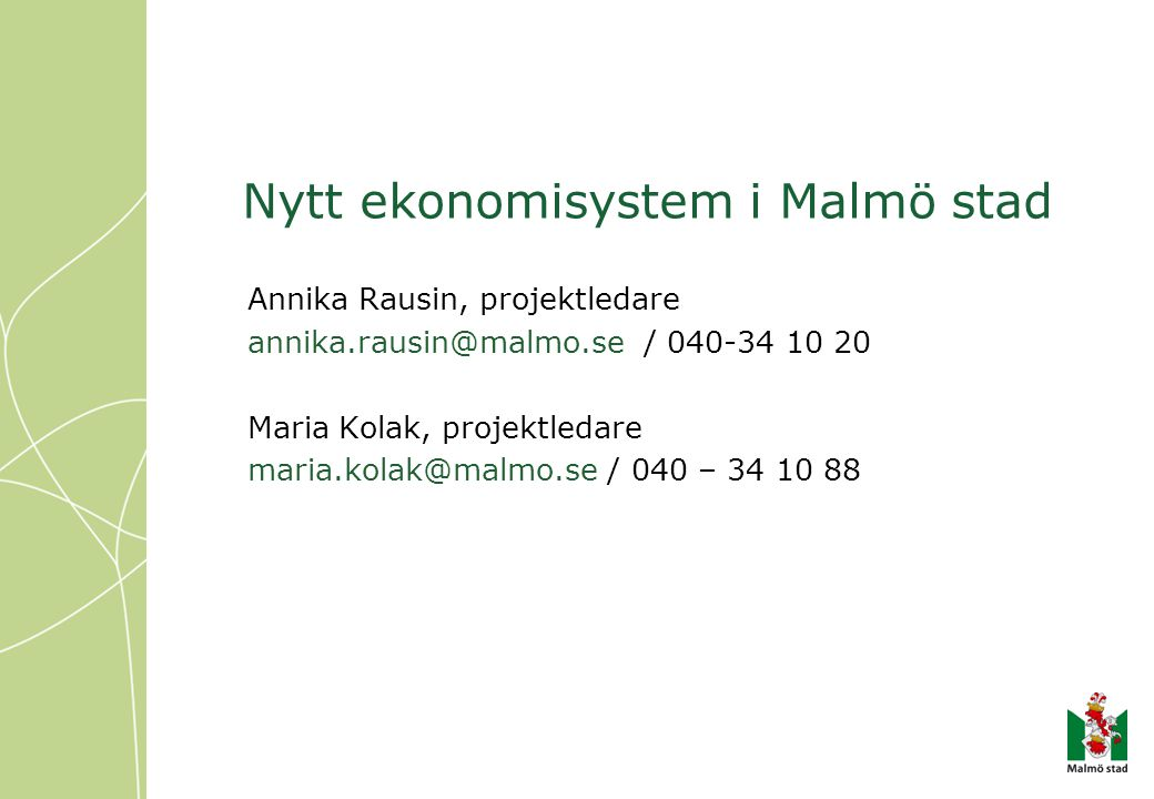 Nytt ekonomisystem i Malmö stad