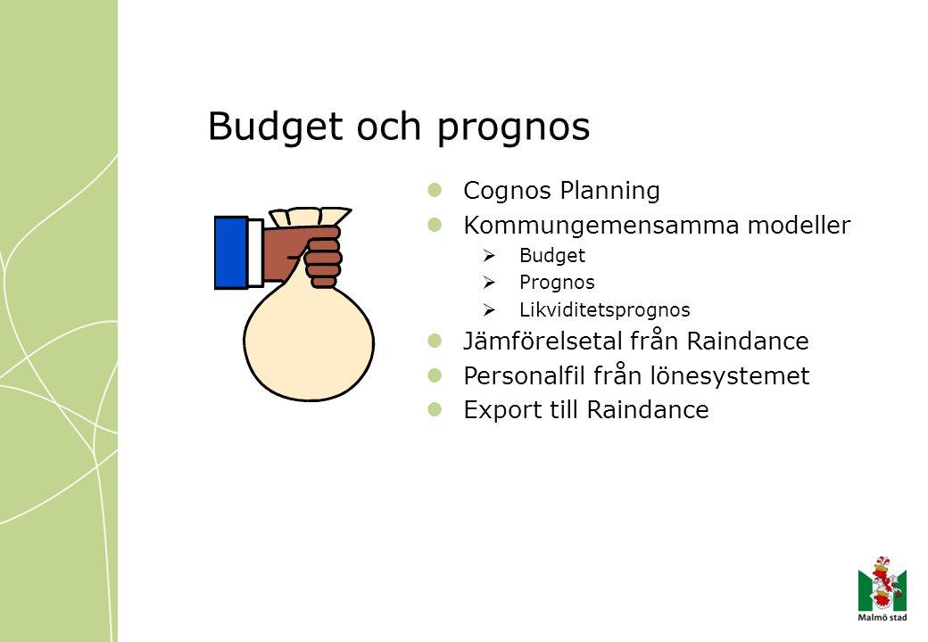 Budget och prognos Cognos Planning Kommungemensamma modeller