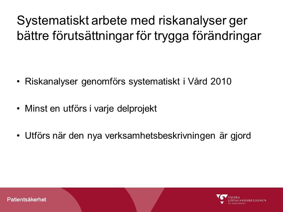 Systematiskt arbete med riskanalyser ger bättre förutsättningar för trygga förändringar