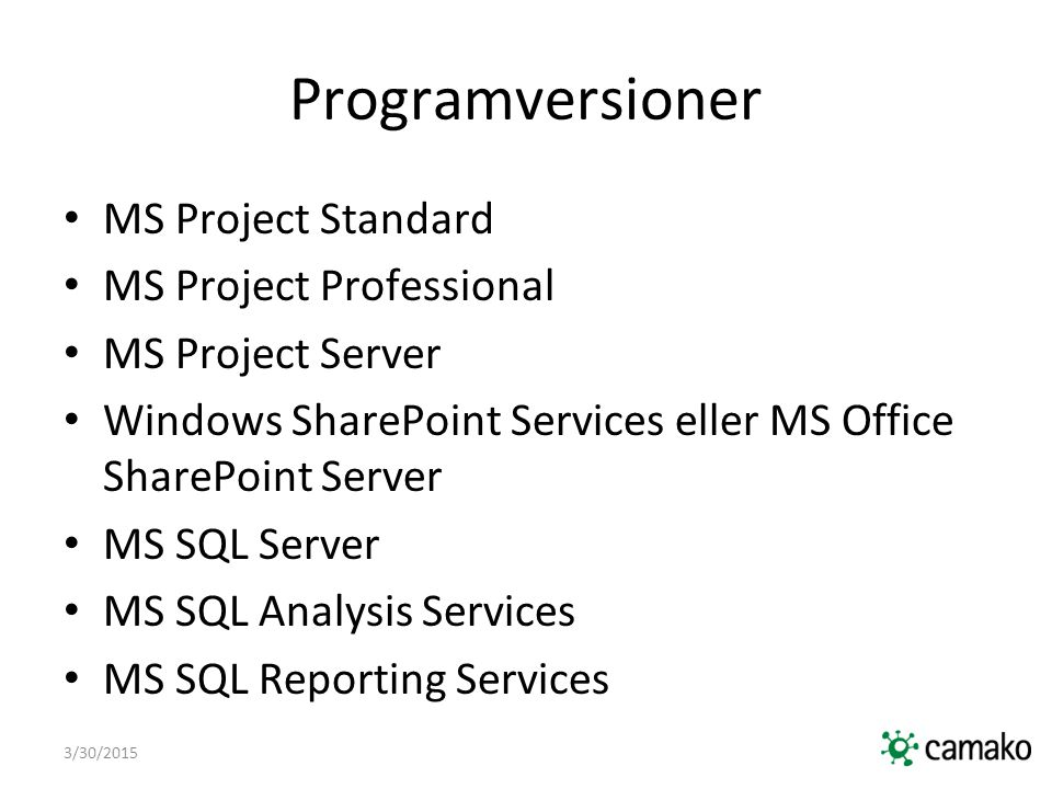 Programversioner MS Project Standard MS Project Professional