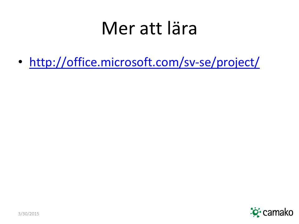 Mer att lära http://office.microsoft.com/sv-se/project/ 4/9/2017