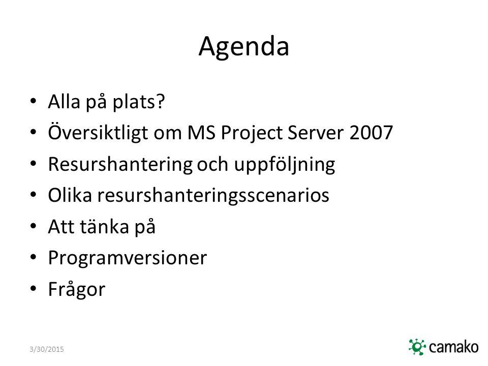 Agenda Alla på plats Översiktligt om MS Project Server 2007
