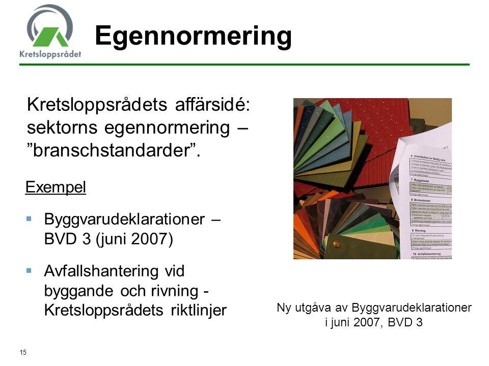 Ny utgåva av Byggvarudeklarationer i juni 2007, BVD 3