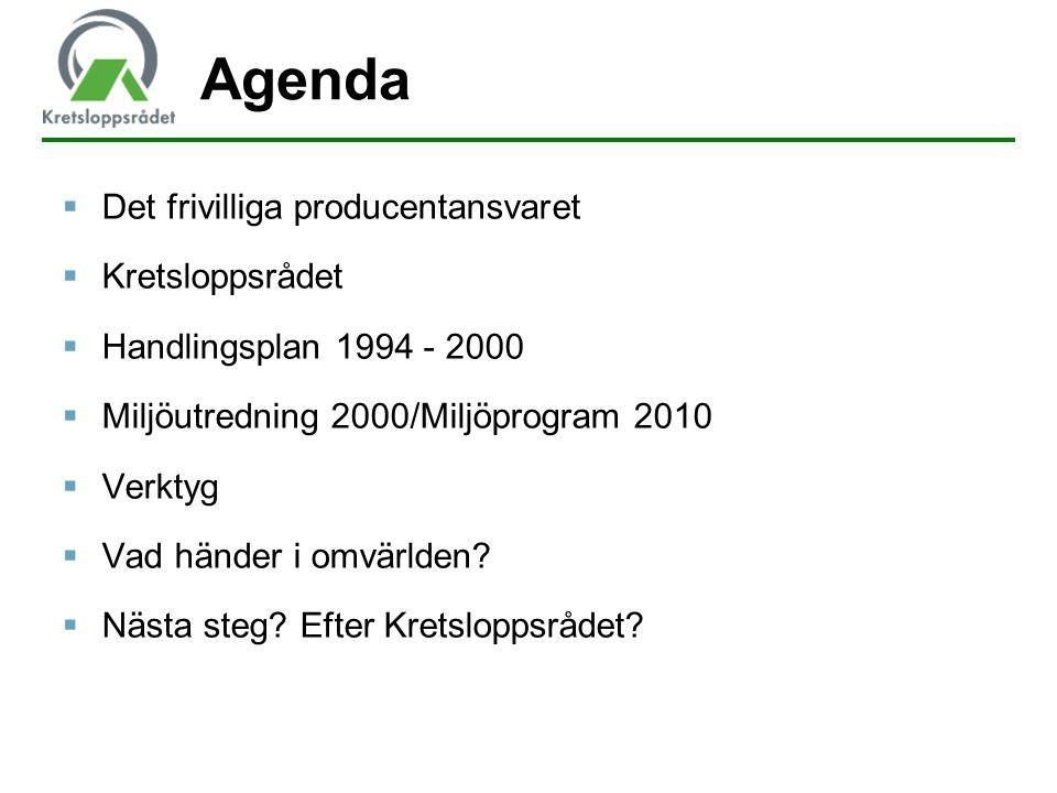 Agenda Det frivilliga producentansvaret Kretsloppsrådet