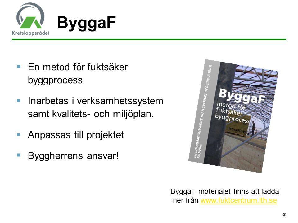 ByggaF-materialet finns att ladda ner från www.fuktcentrum.lth.se