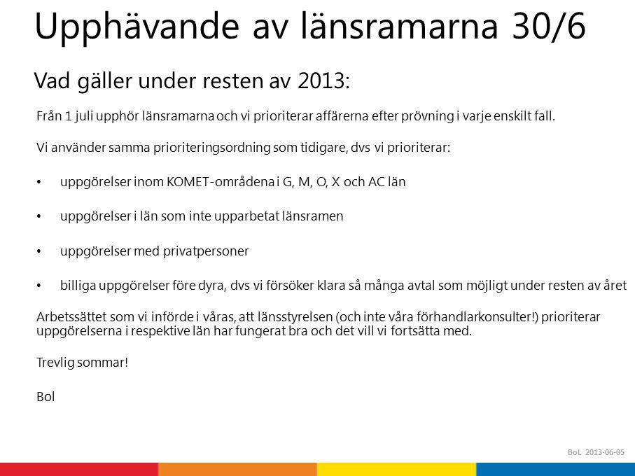 Upphävande av länsramarna 30/6 Vad gäller under resten av 2013: