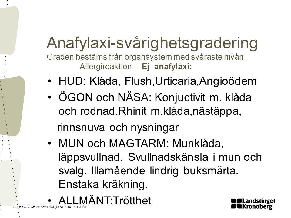 Anafylaxi-svårighetsgradering Graden bestäms från organsystem med svåraste nivån Allergireaktion Ej anafylaxi: