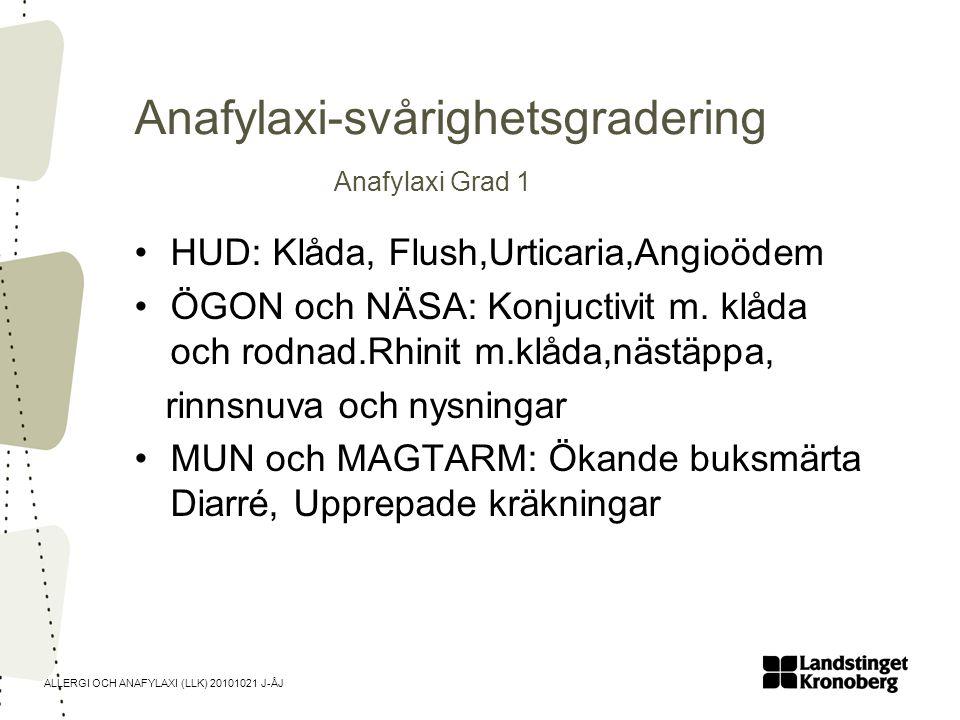 Anafylaxi-svårighetsgradering Anafylaxi Grad 1