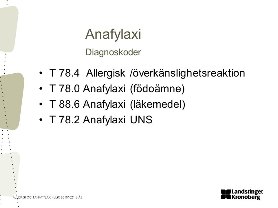 Anafylaxi Diagnoskoder