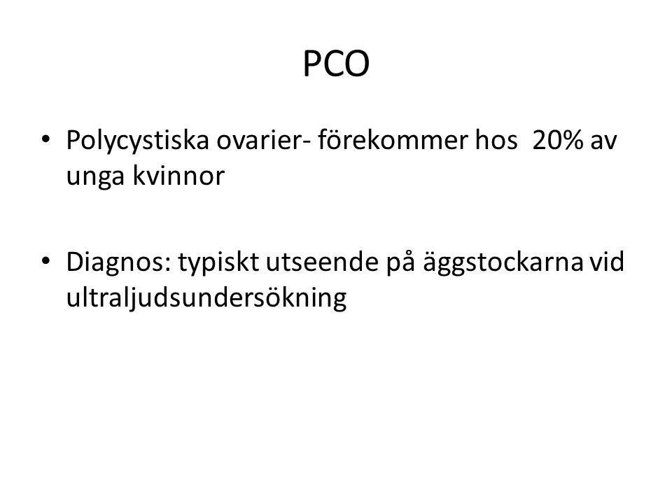 PCO Polycystiska ovarier- förekommer hos 20% av unga kvinnor