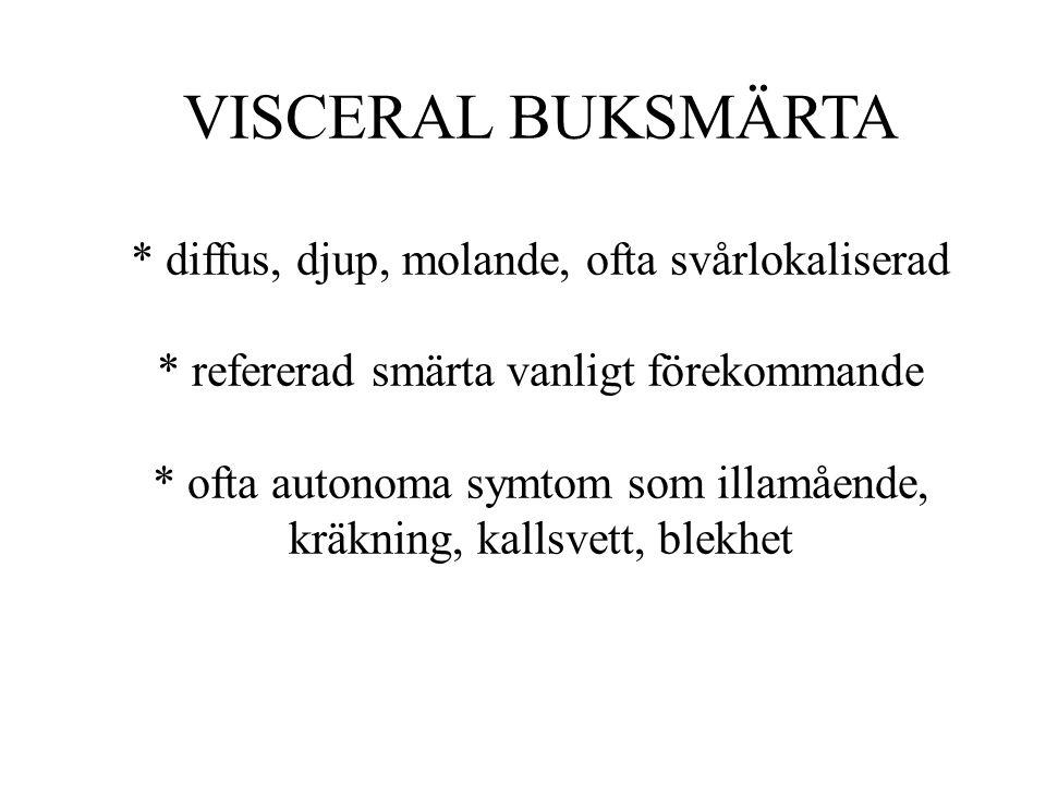 VISCERAL BUKSMÄRTA. diffus, djup, molande, ofta svårlokaliserad