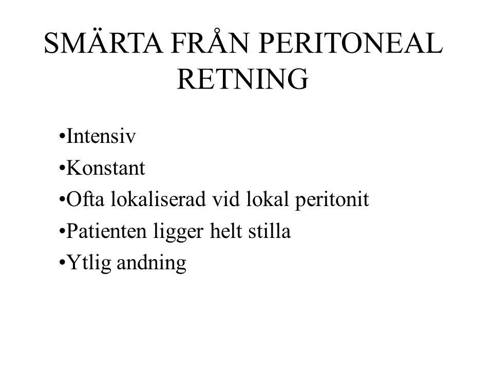 SMÄRTA FRÅN PERITONEAL RETNING