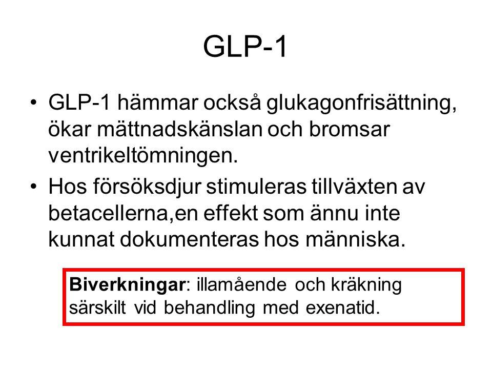 GLP-1 GLP-1 hämmar också glukagonfrisättning, ökar mättnadskänslan och bromsar ventrikeltömningen.