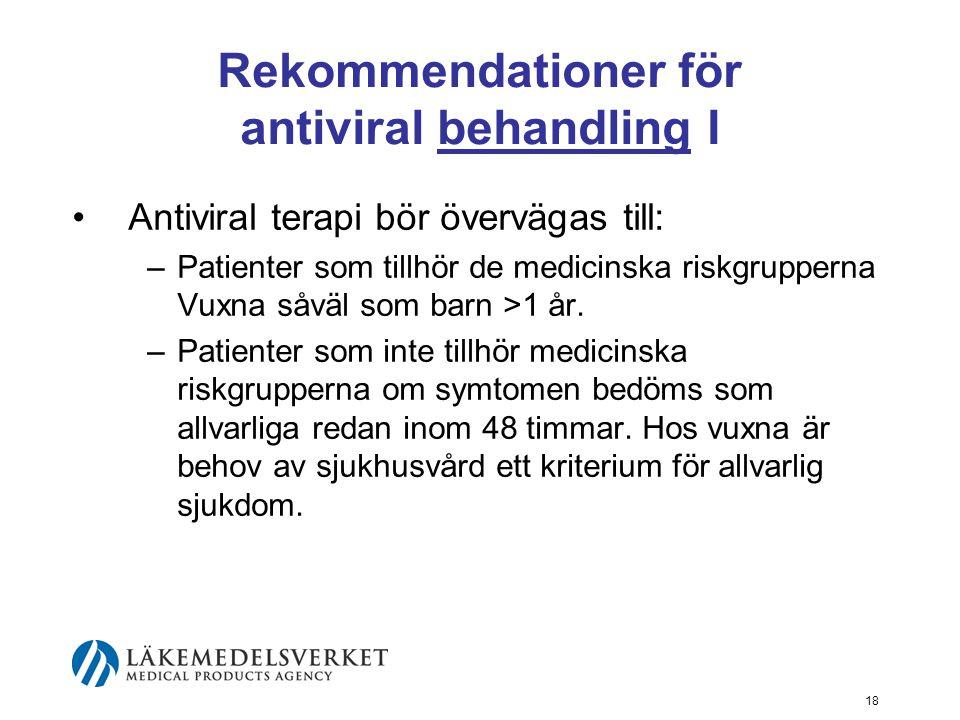 Rekommendationer för antiviral behandling I