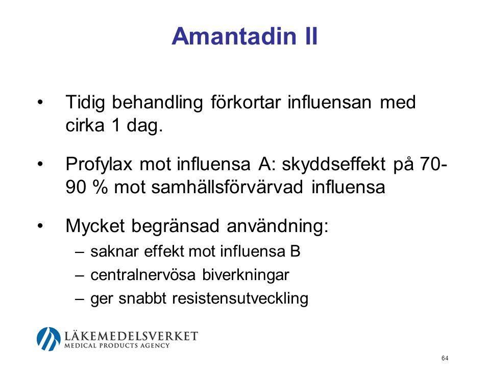 Amantadin II Tidig behandling förkortar influensan med cirka 1 dag.