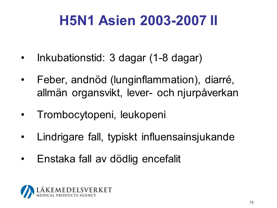 H5N1 Asien 2003-2007 II Inkubationstid: 3 dagar (1-8 dagar)