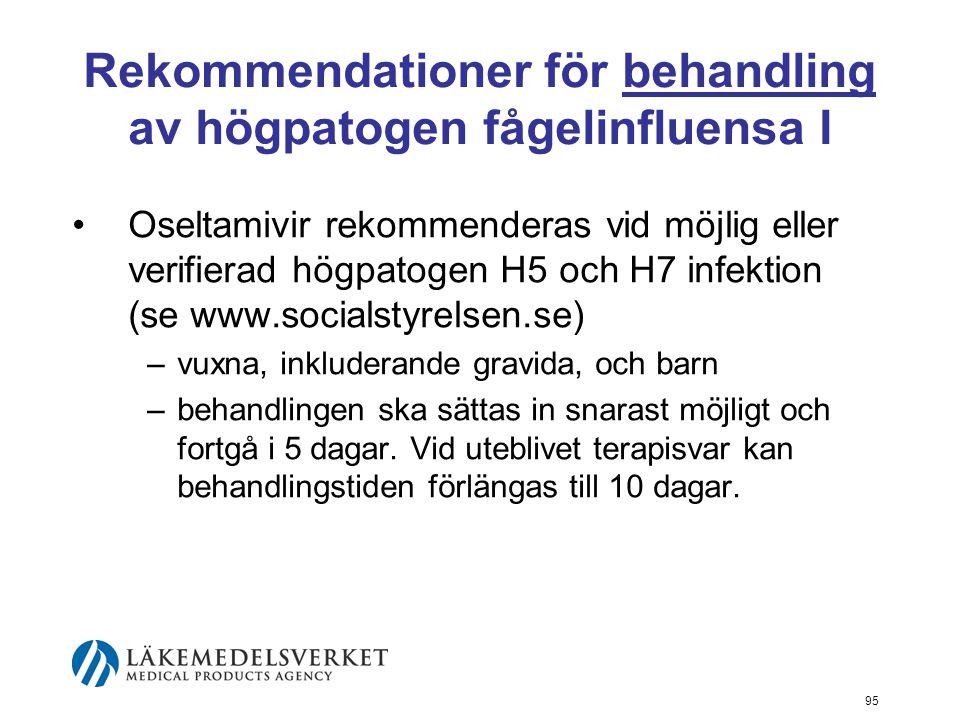 Rekommendationer för behandling av högpatogen fågelinfluensa I
