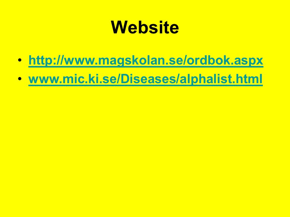 Website http://www.magskolan.se/ordbok.aspx