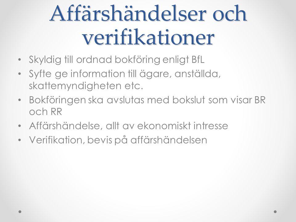 Affärshändelser och verifikationer