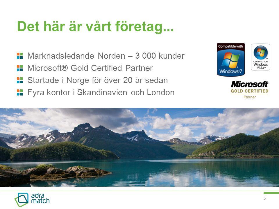 Det här är vårt företag... Marknadsledande Norden – 3 000 kunder