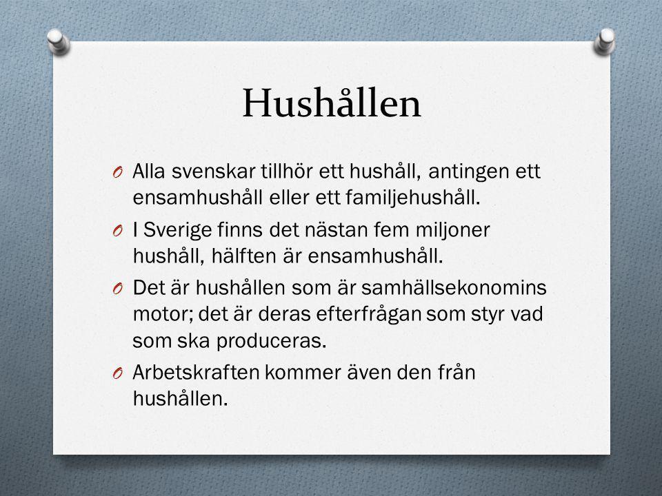 Hushållen Alla svenskar tillhör ett hushåll, antingen ett ensamhushåll eller ett familjehushåll.