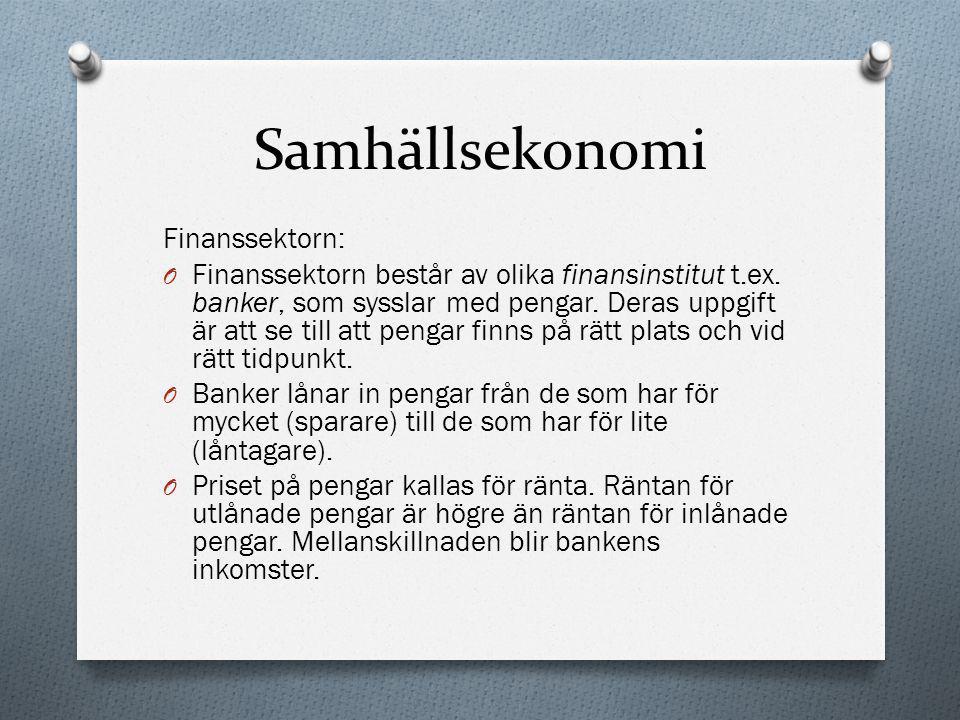 Samhällsekonomi Finanssektorn: