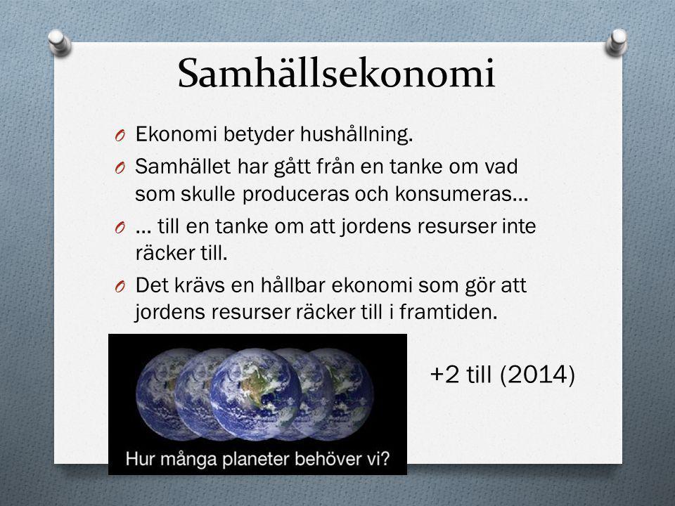 Samhällsekonomi +2 till (2014) Ekonomi betyder hushållning.