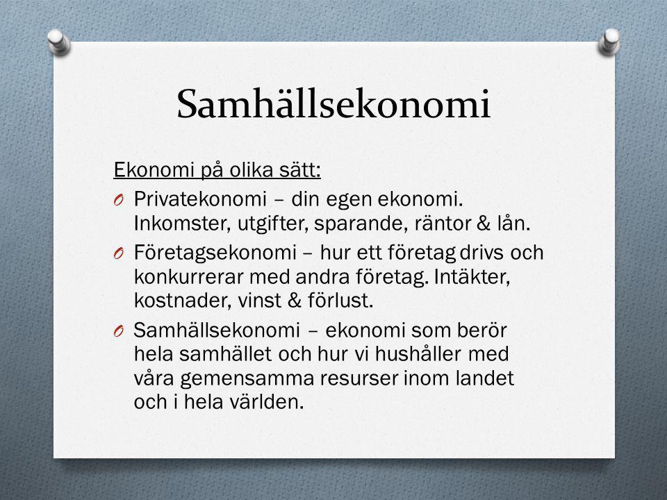 Samhällsekonomi Ekonomi på olika sätt: