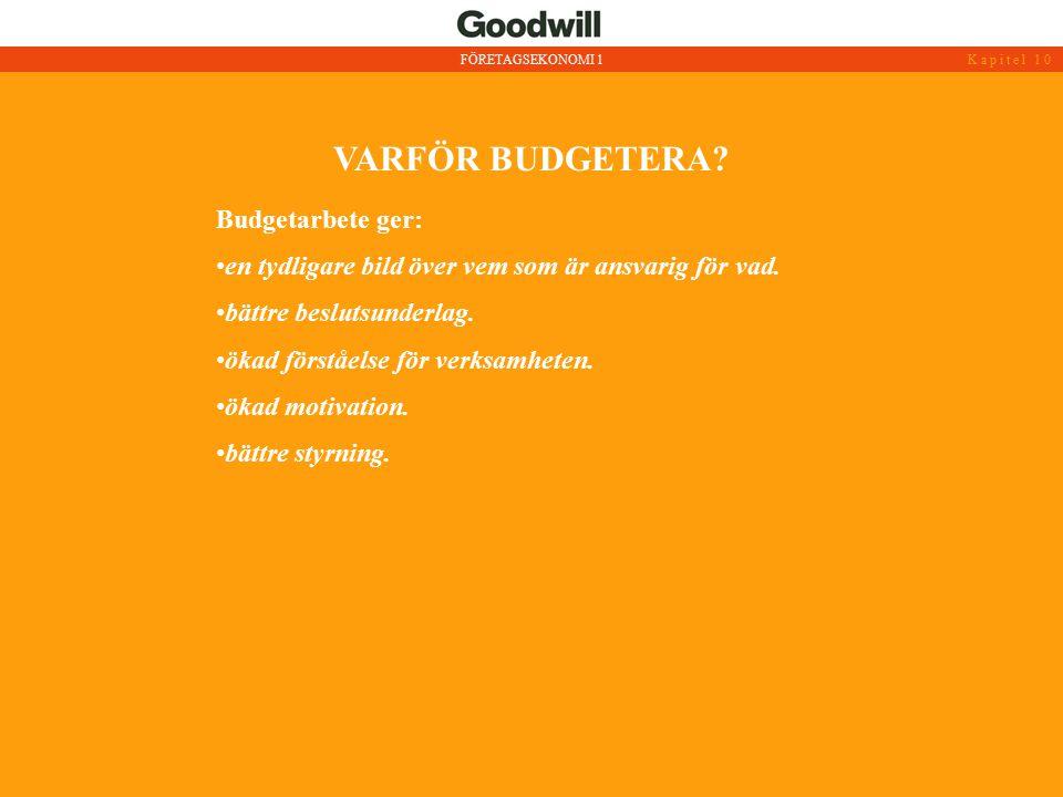 VARFÖR BUDGETERA Budgetarbete ger:
