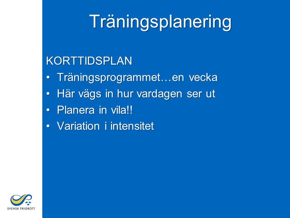 Träningsplanering KORTTIDSPLAN Träningsprogrammet…en vecka