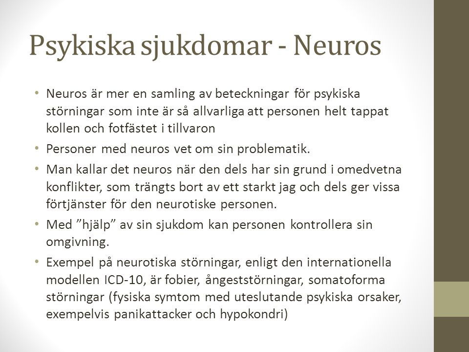 Psykiska sjukdomar - Neuros