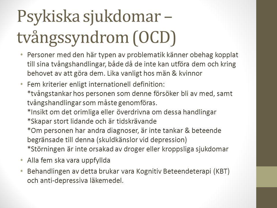 Psykiska sjukdomar – tvångssyndrom (OCD)