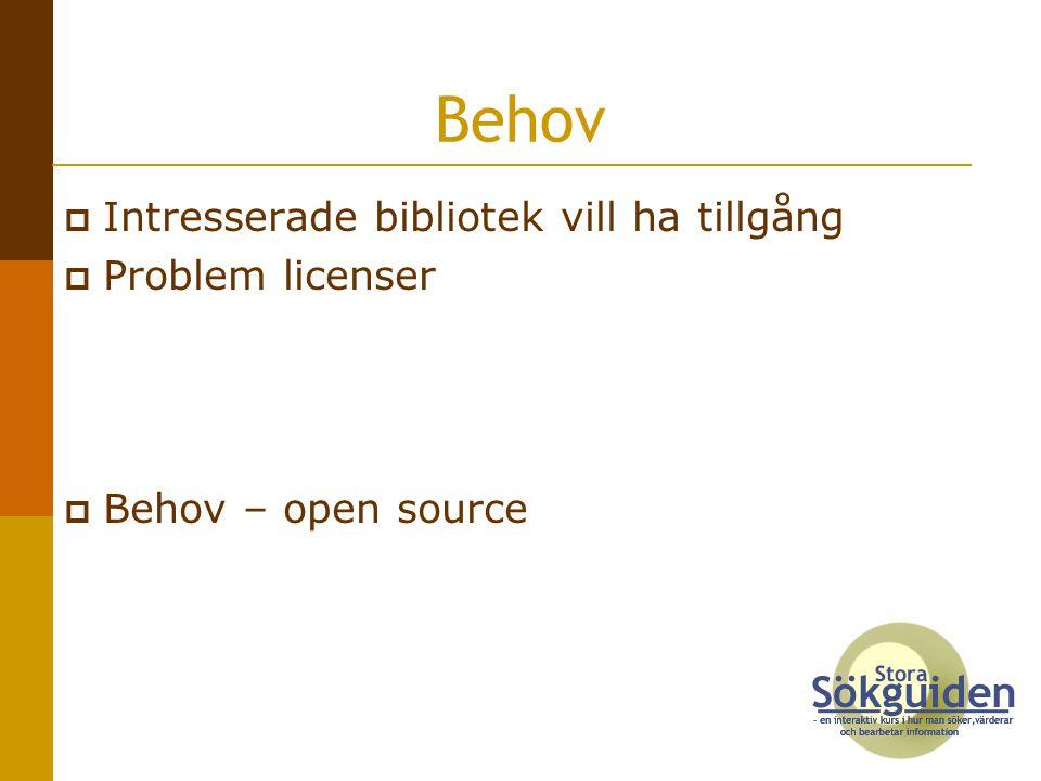 Behov Intresserade bibliotek vill ha tillgång Problem licenser