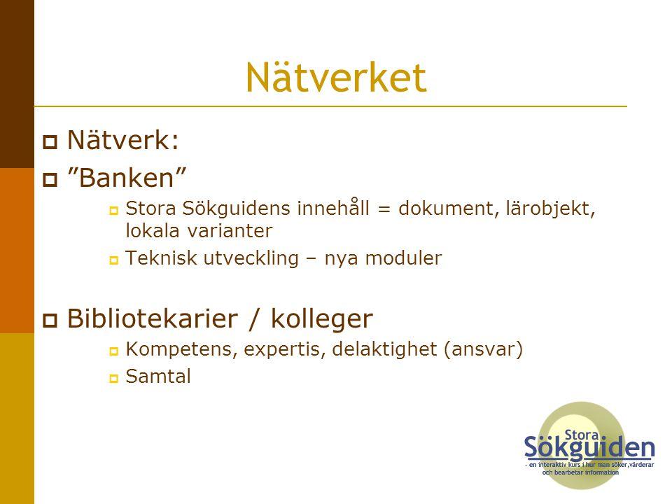 Nätverket Nätverk: Banken Bibliotekarier / kolleger