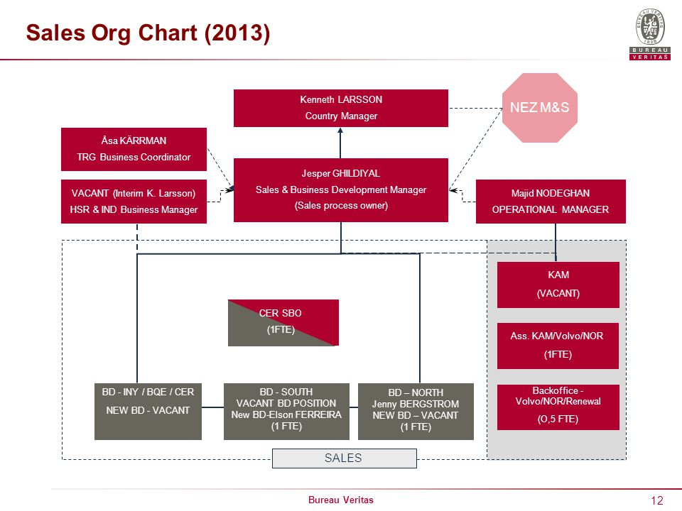Sales Org Chart (2013) NEZ M&S SALES Kenneth LARSSON Country Manager