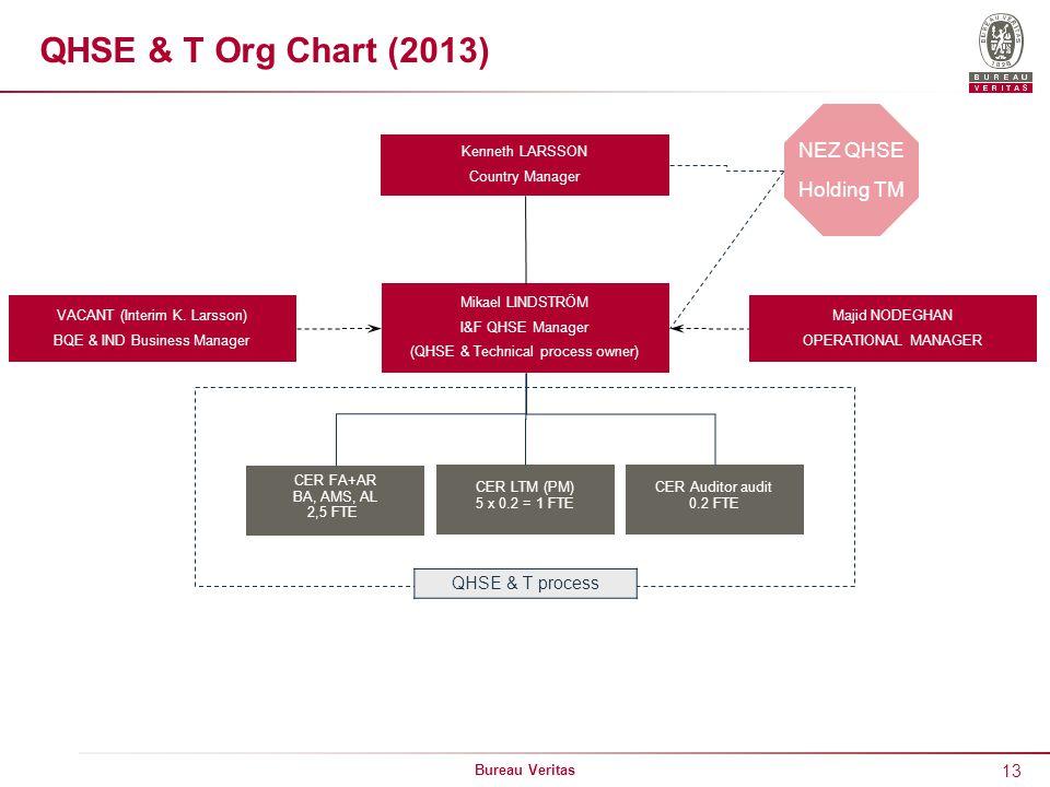 QHSE & T Org Chart (2013) NEZ QHSE Holding TM QHSE & T process