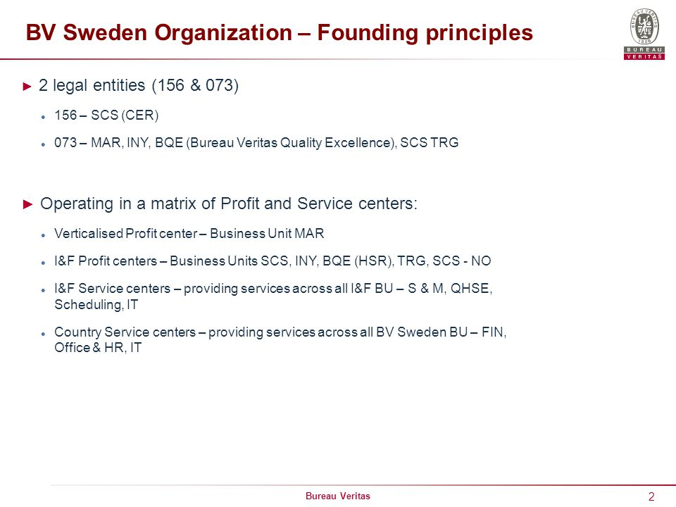 BV Sweden Organization – Founding principles