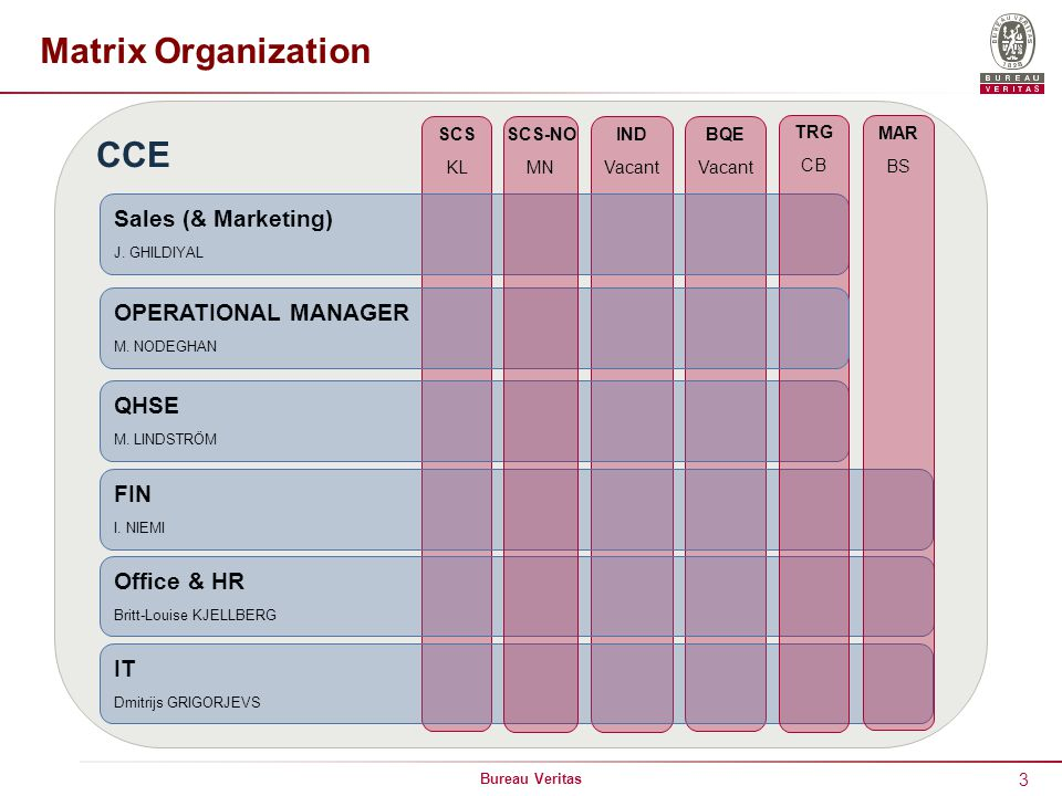 Matrix Organization CCE Sales (& Marketing) OPERATIONAL MANAGER QHSE