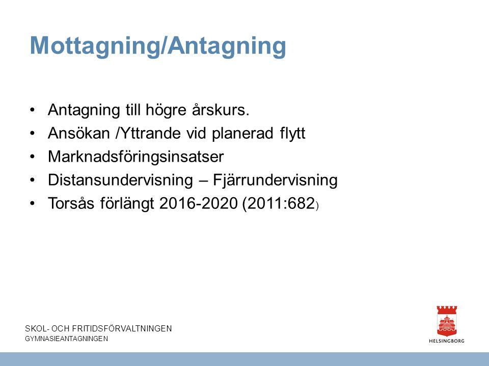 Mottagning/Antagning