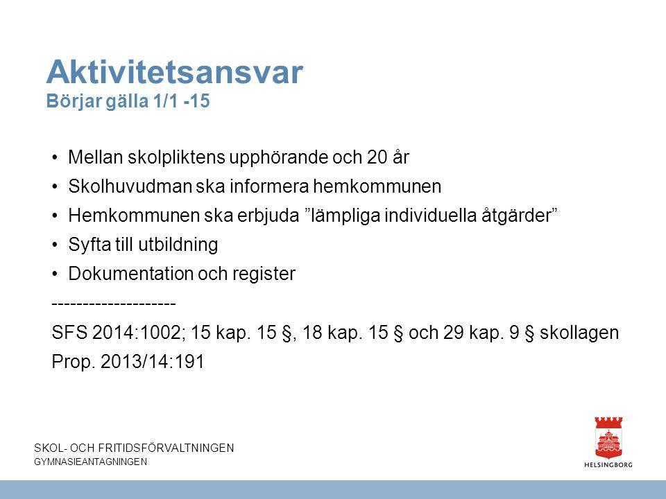 Aktivitetsansvar Börjar gälla 1/1 -15