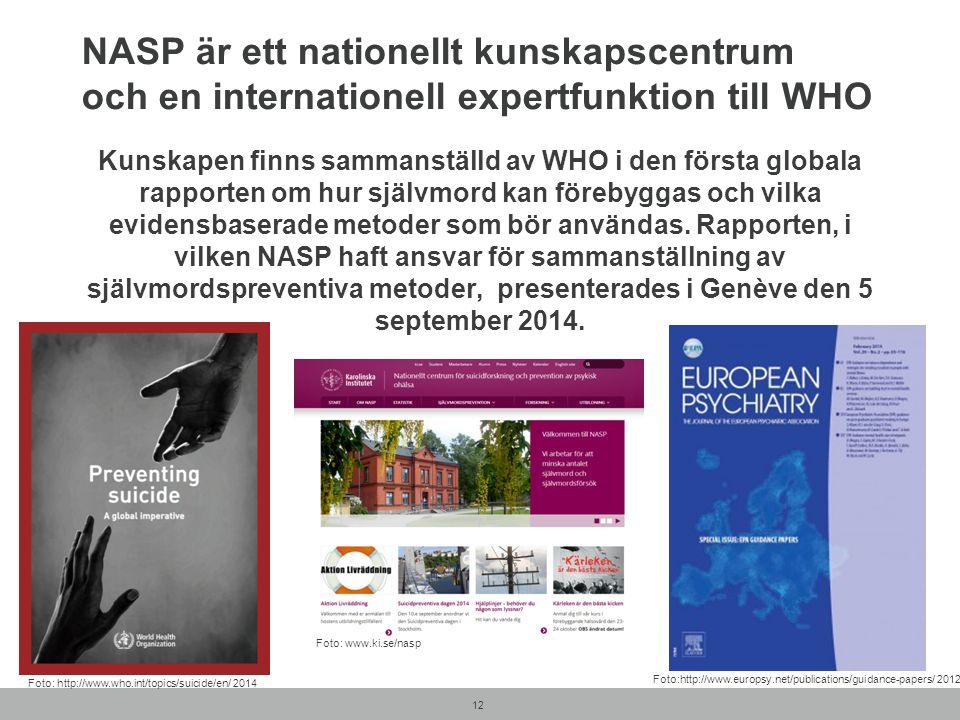 NASP är ett nationellt kunskapscentrum och en internationell expertfunktion till WHO