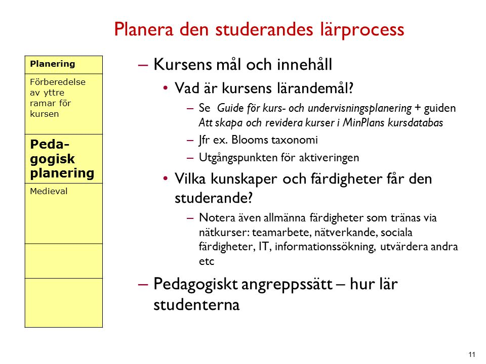 Planera den studerandes lärprocess