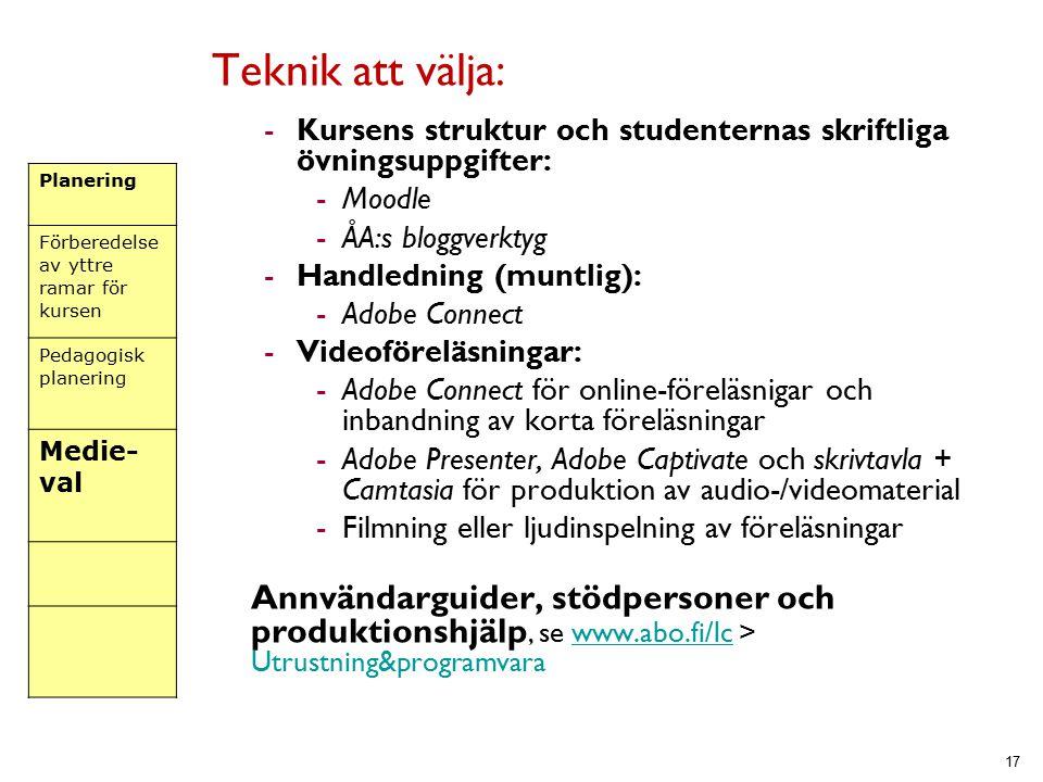Teknik att välja: Kursens struktur och studenternas skriftliga övningsuppgifter: Moodle. ÅA:s bloggverktyg.
