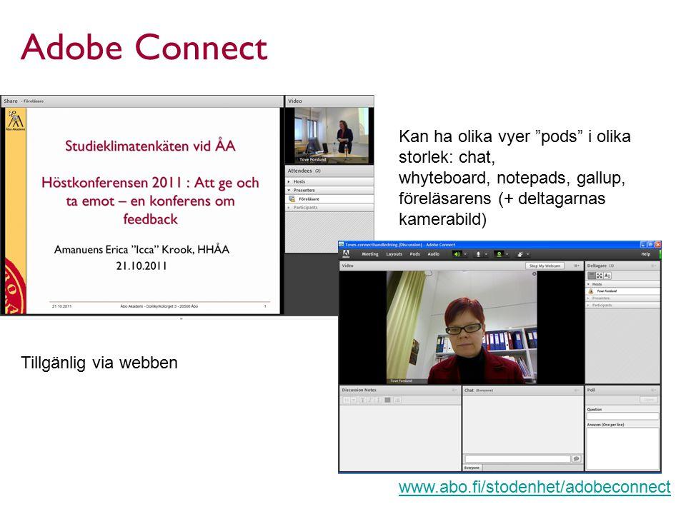 Adobe Connect Kan ha olika vyer pods i olika storlek: chat,